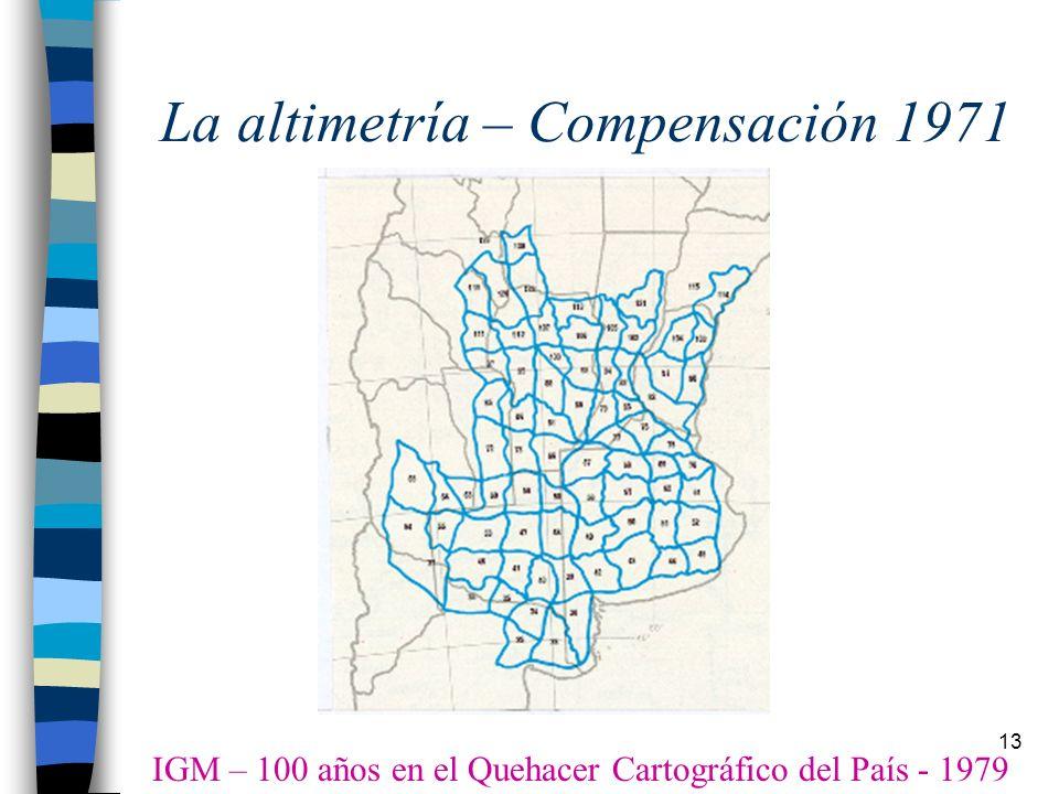 13 La altimetría – Compensación 1971 IGM – 100 años en el Quehacer Cartográfico del País - 1979