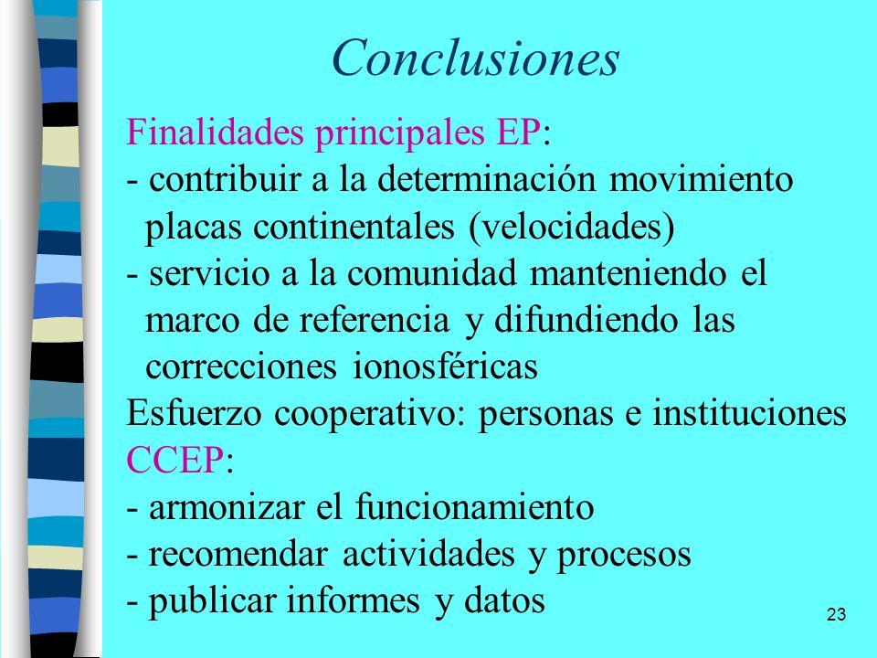 23 Conclusiones Finalidades principales EP: - contribuir a la determinación movimiento placas continentales (velocidades) - servicio a la comunidad ma