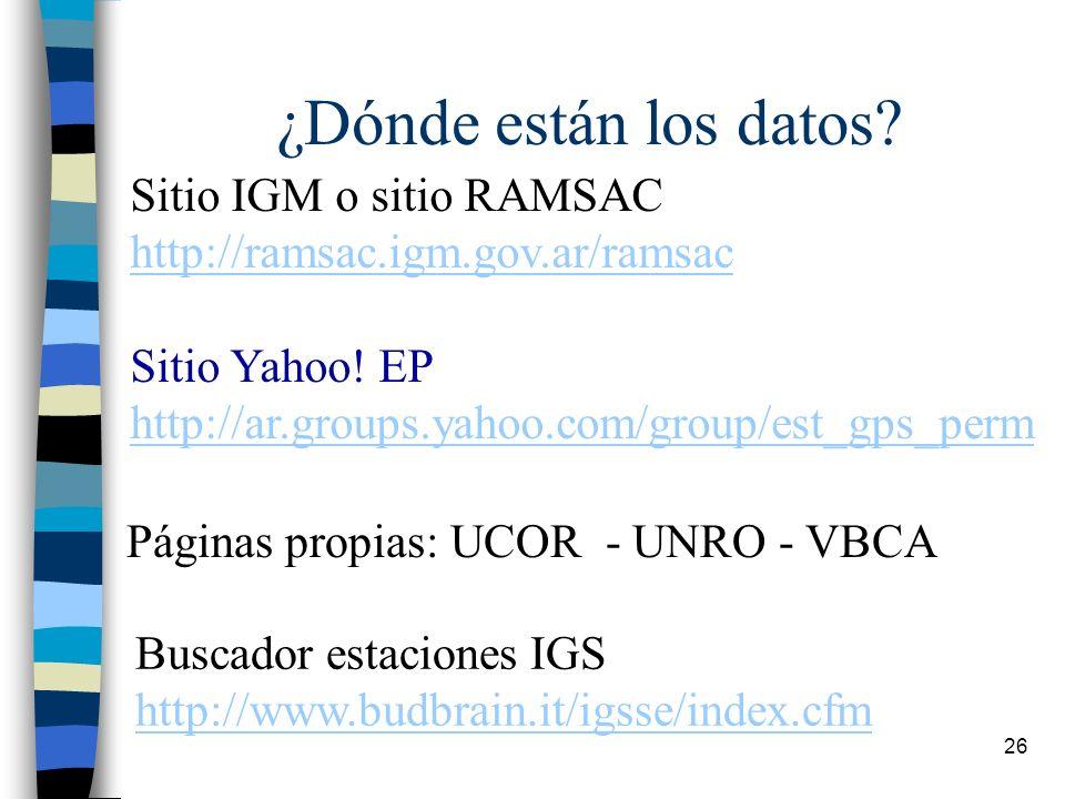 26 ¿Dónde están los datos? Sitio IGM o sitio RAMSAC http://ramsac.igm.gov.ar/ramsac Sitio Yahoo! EP http://ar.groups.yahoo.com/group/est_gps_perm Pági