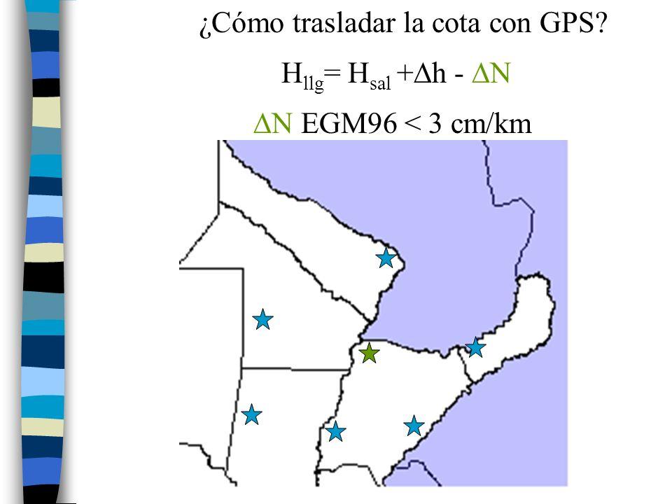 29 ¿Cómo trasladar la cota con GPS? H llg = H sal + h - N N EGM96 < 3 cm/km