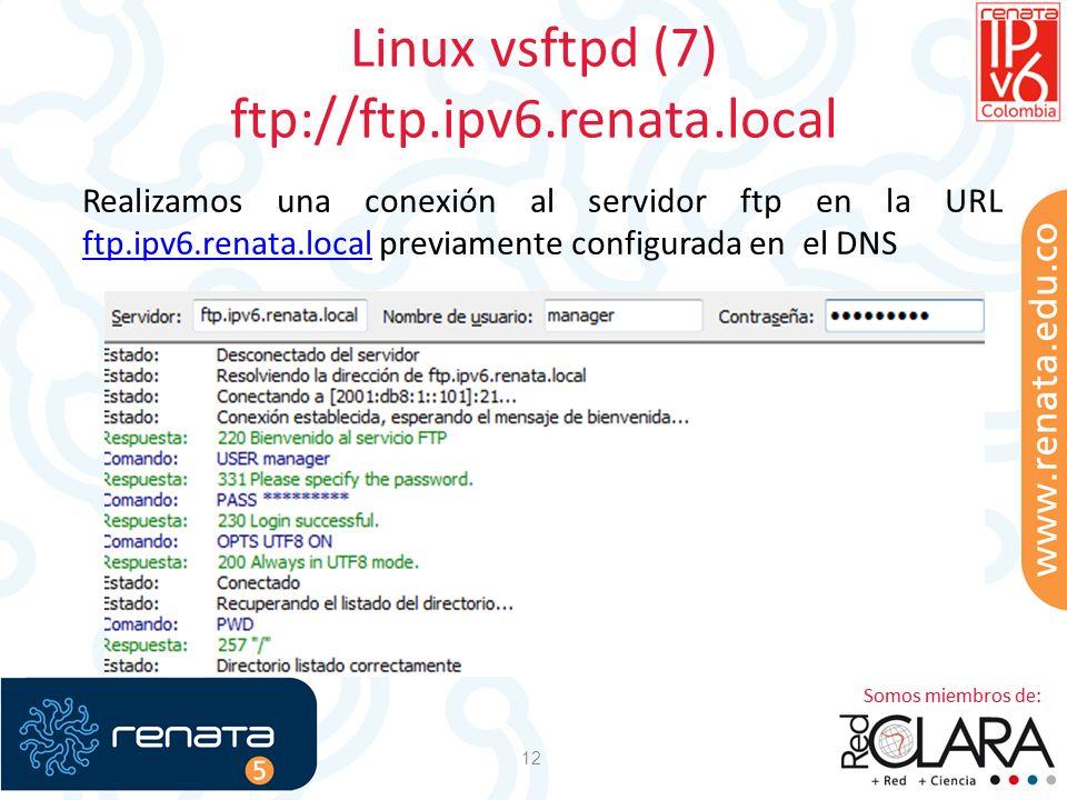 Linux vsftpd (7) ftp://ftp.ipv6.renata.local 12 Realizamos una conexión al servidor ftp en la URL ftp.ipv6.renata.local previamente configurada en el