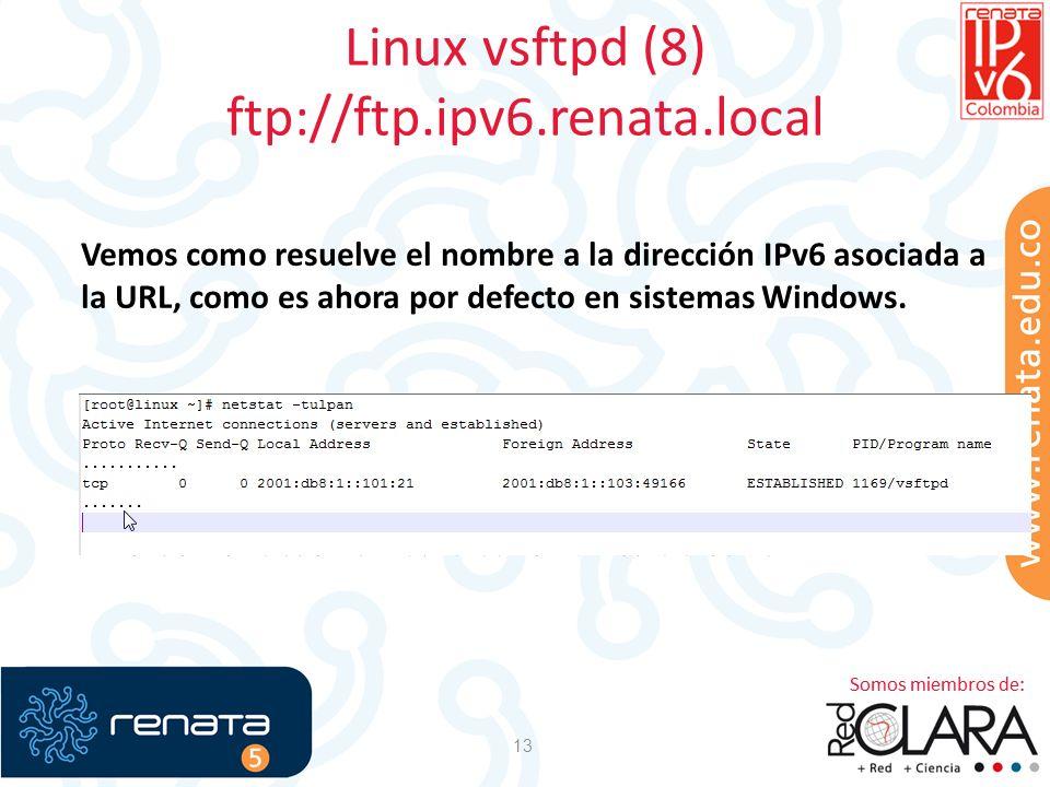 Linux vsftpd (8) ftp://ftp.ipv6.renata.local 13 Vemos como resuelve el nombre a la dirección IPv6 asociada a la URL, como es ahora por defecto en sist