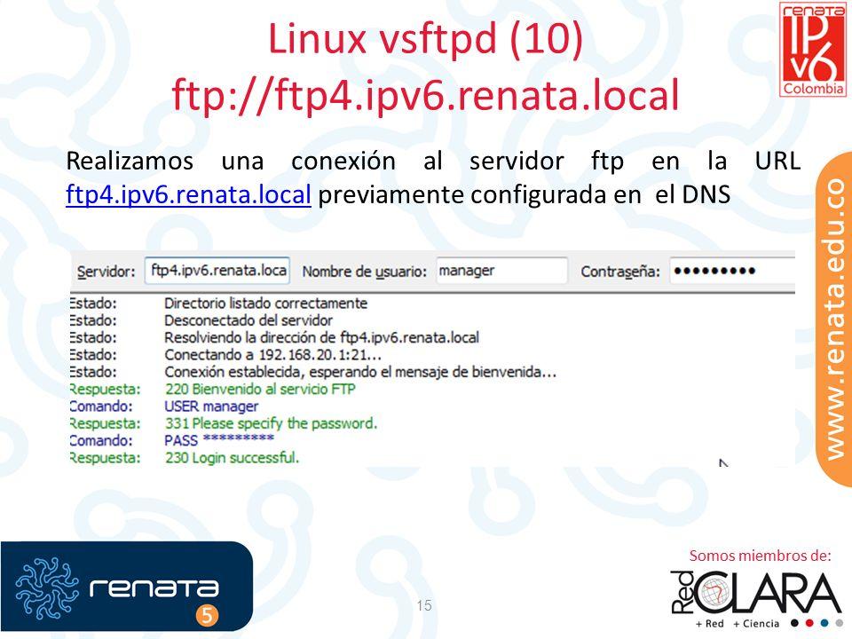 Linux vsftpd (10) ftp://ftp4.ipv6.renata.local 15 Realizamos una conexión al servidor ftp en la URL ftp4.ipv6.renata.local previamente configurada en