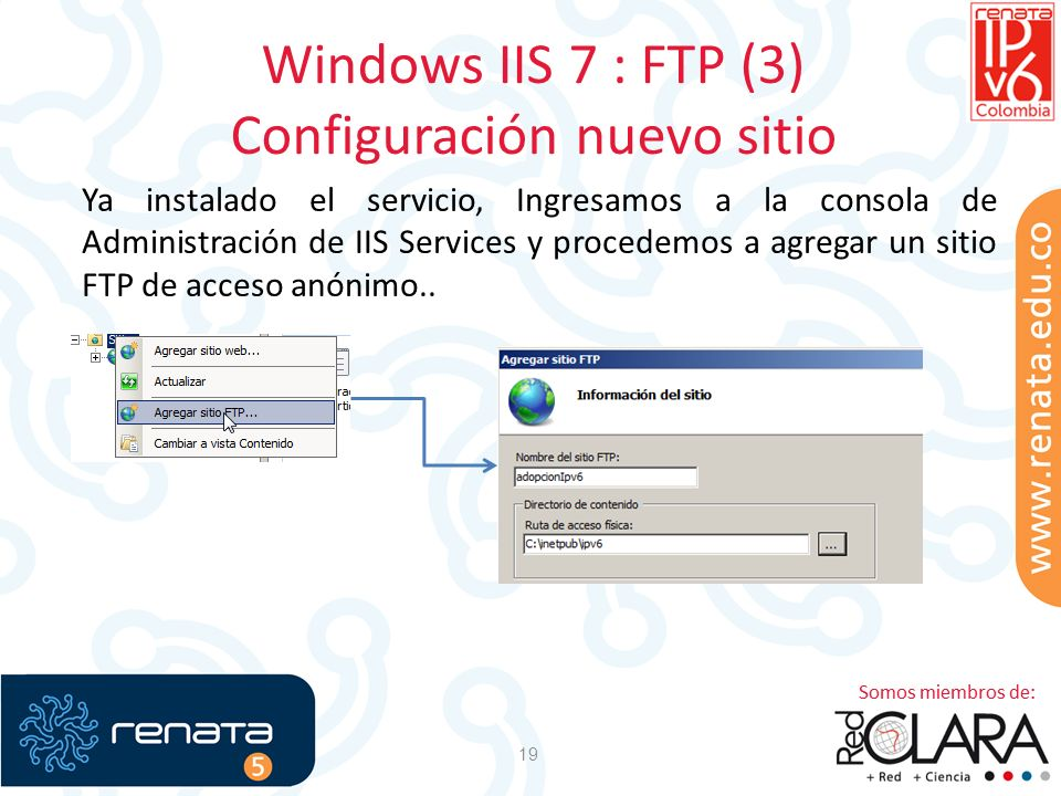 Windows IIS 7 : FTP (3) Configuración nuevo sitio 19 Ya instalado el servicio, Ingresamos a la consola de Administración de IIS Services y procedemos