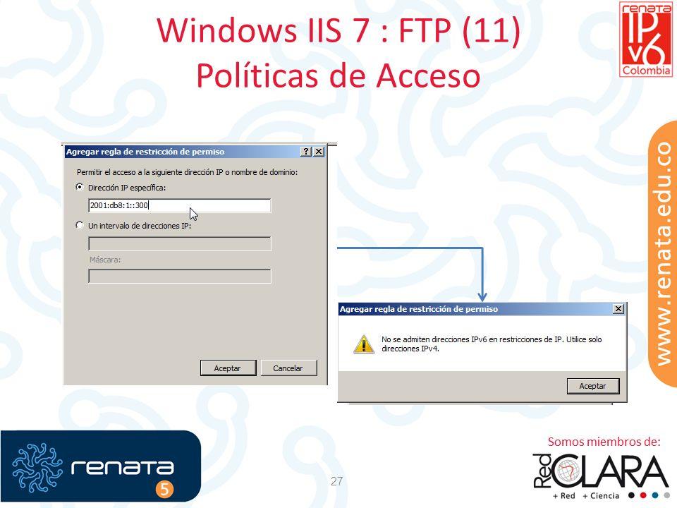 Windows IIS 7 : FTP (11) Políticas de Acceso 27