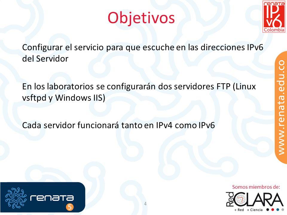 Objetivos 4 Configurar el servicio para que escuche en las direcciones IPv6 del Servidor En los laboratorios se configurarán dos servidores FTP (Linux