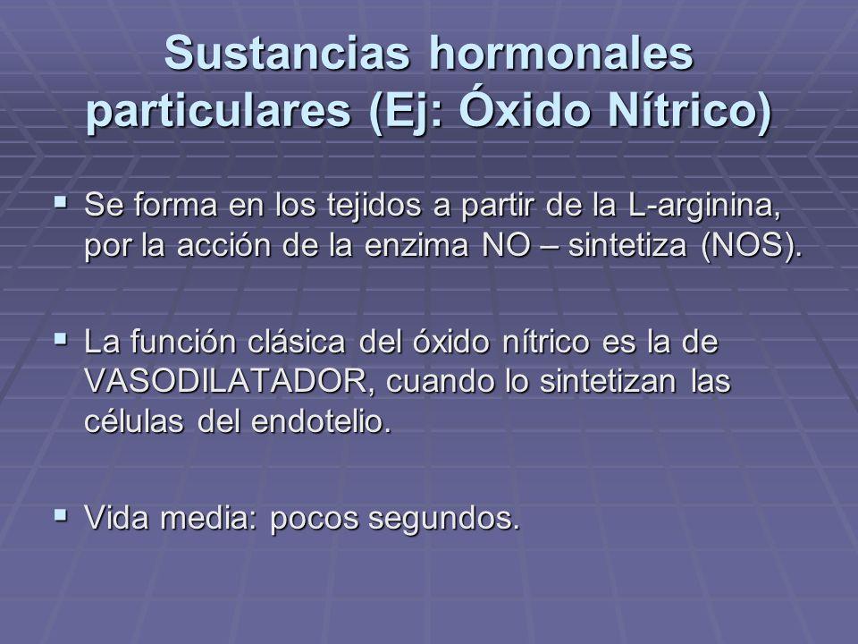 OXIDO NITRICO La NO-Sintetiza tiene tres isoformas conocidas actualmente: La NO-Sintetiza tiene tres isoformas conocidas actualmente: a- NOS Neuronal (nNOS) a- NOS Neuronal (nNOS) b- NOS Inducible (iNOS) b- NOS Inducible (iNOS) c- NOS Endotelial (eNOS) c- NOS Endotelial (eNOS) Efectos fisiológicos variados.
