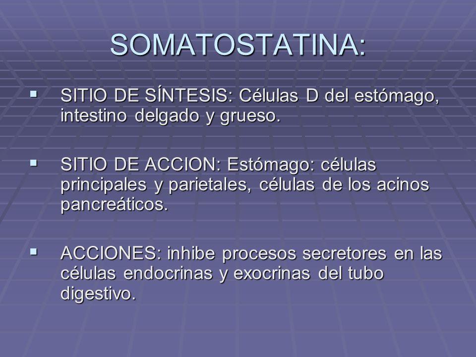 ENTEROGLUCAGON: SITIO DE SÍNTESIS: Células A de ileon terminal y colon.