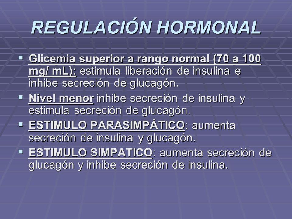 REGULACIÓN HORMONAL Glicemia superior a rango normal (70 a 100 mg/ mL): estimula liberación de insulina e inhibe secreción de glucagón. Glicemia super
