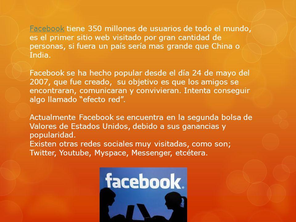 FacebookFacebook tiene 350 millones de usuarios de todo el mundo, es el primer sitio web visitado por gran cantidad de personas, si fuera un país serí