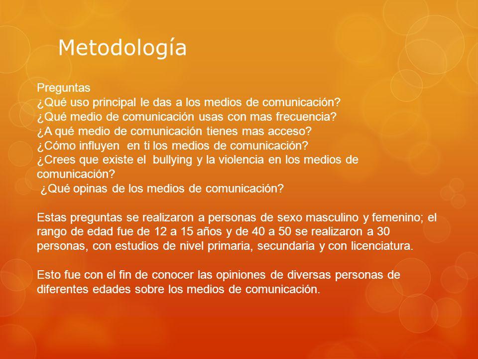 Metodología Preguntas ¿Qué uso principal le das a los medios de comunicación? ¿Qué medio de comunicación usas con mas frecuencia? ¿A qué medio de comu