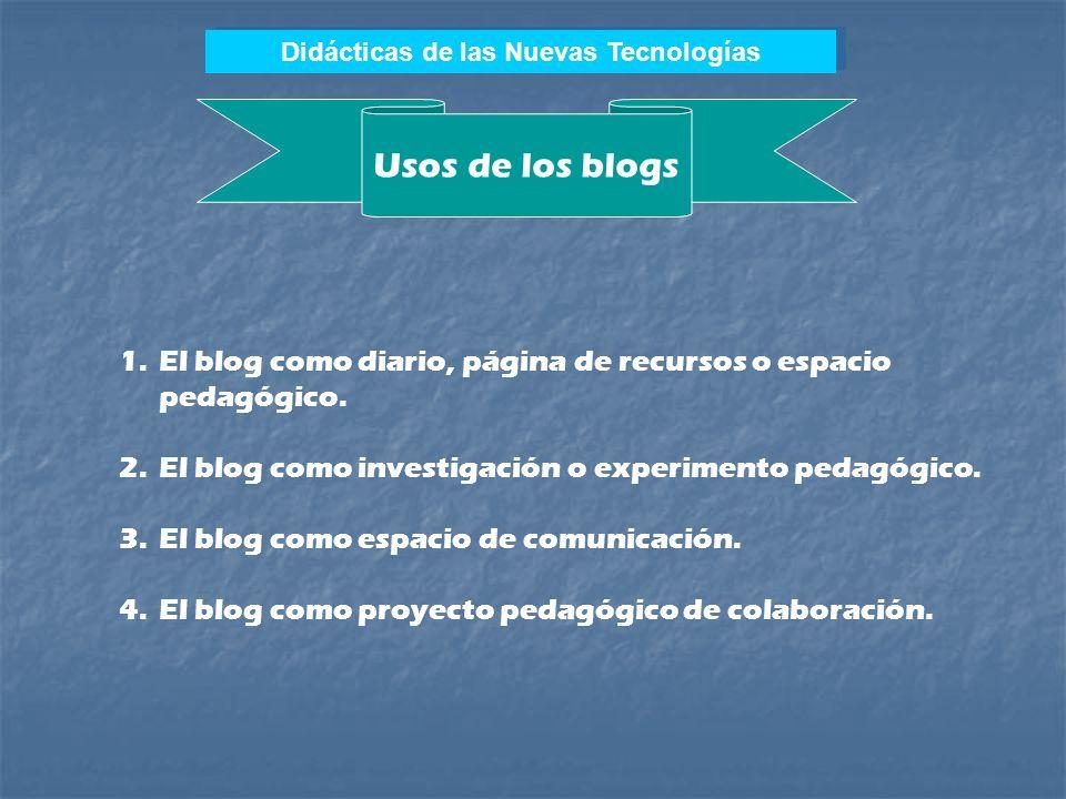 Didácticas de las Nuevas Tecnologías Blogs Los weblogs, carnets web, cybercarnets o blogs representan un nuevo tipo de sitio Internet. El Carnet Web (