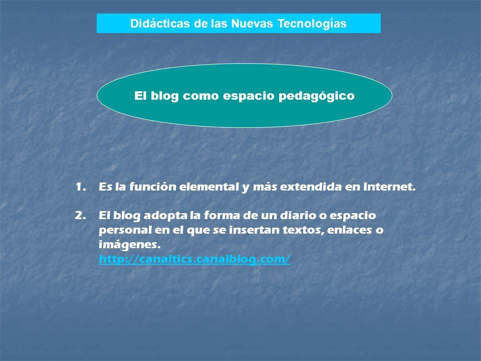 Didácticas de las Nuevas Tecnologías 1.El blog como diario, página de recursos o espacio pedagógico. 2.El blog como investigación o experimento pedagó