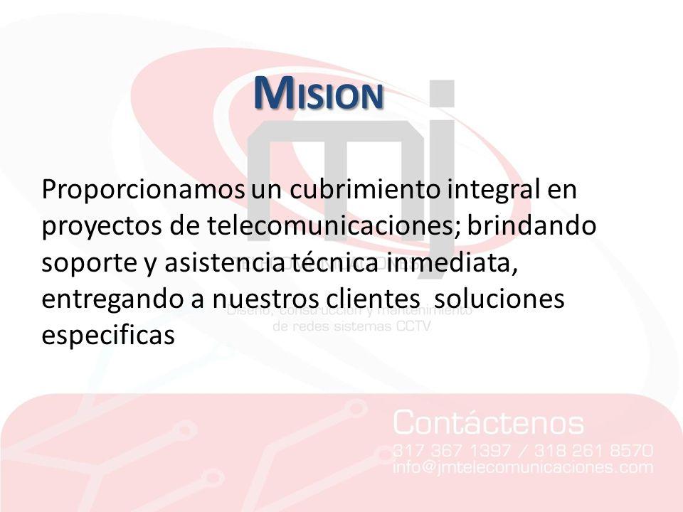 Proporcionamos un cubrimiento integral en proyectos de telecomunicaciones; brindando soporte y asistencia técnica inmediata, entregando a nuestros cli