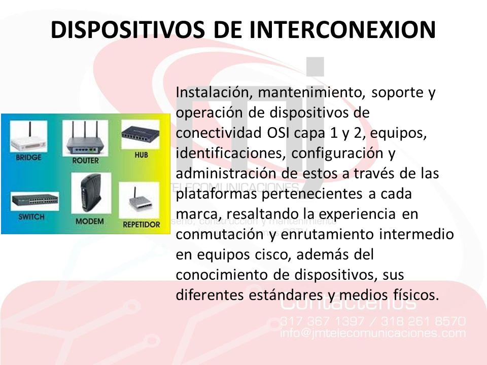 DISPOSITIVOS DE INTERCONEXION Instalación, mantenimiento, soporte y operación de dispositivos de conectividad OSI capa 1 y 2, equipos, identificacione