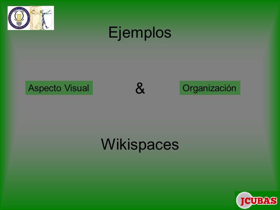 Ejemplos & Wikispaces Aspecto VisualOrganización