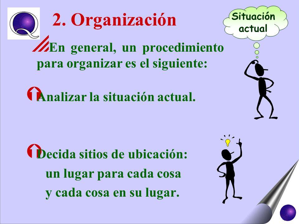 2. Organización En general, un procedimiento para organizar es el siguiente: Ý Analizar la situación actual. Ý Decida sitios de ubicación: un lugar pa