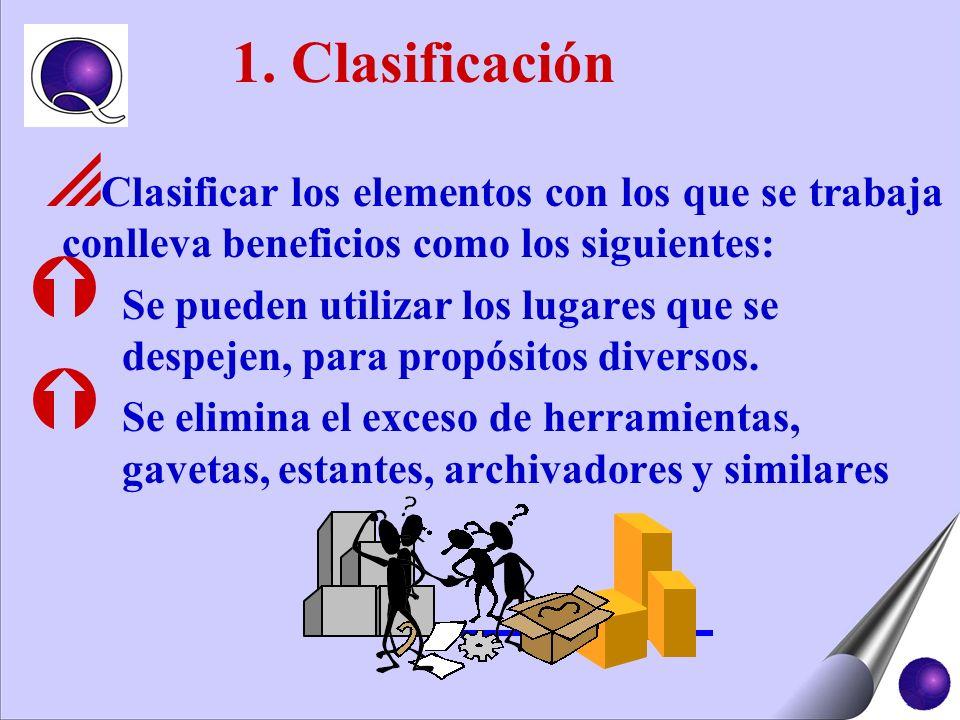 Clasificar los elementos con los que se trabaja conlleva beneficios como los siguientes: Ý Se pueden utilizar los lugares que se despejen, para propós