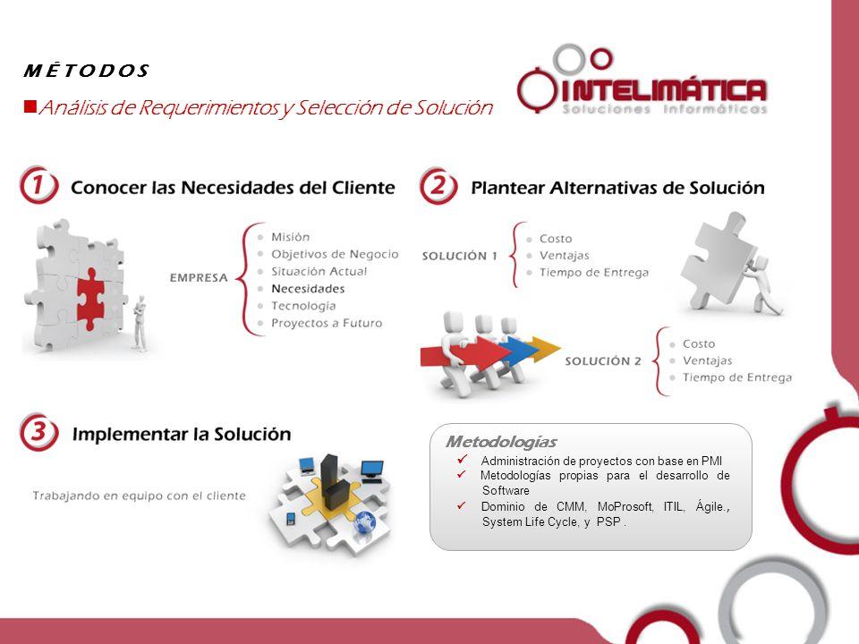 Empresa MÉTODOS Análisis de Requerimientos y Selección de Solución Metodologías Administración de proyectos con base en PMI Metodologías propias para