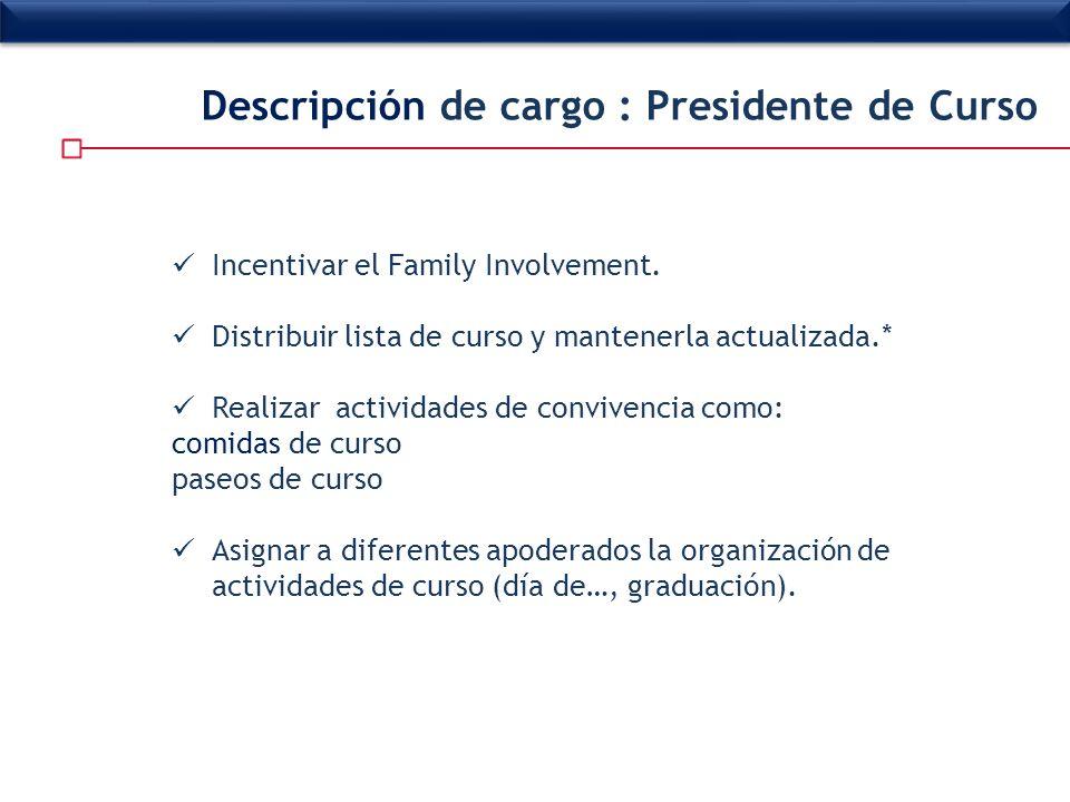 Incentivar el Family Involvement. Distribuir lista de curso y mantenerla actualizada.* Realizar actividades de convivencia como: comidas de curso pase