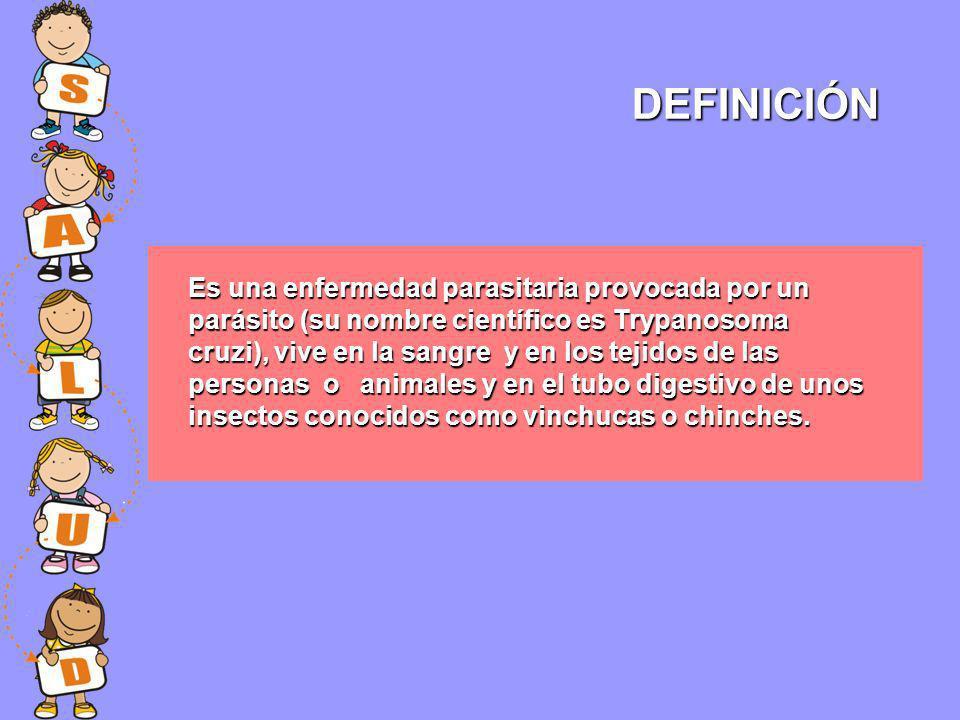 Es una enfermedad parasitaria provocada por un parásito (su nombre científico es Trypanosoma cruzi), vive en la sangre y en los tejidos de las persona