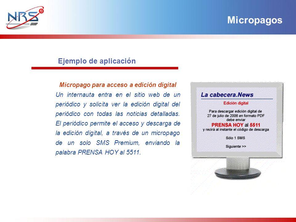 Ejemplo de aplicación Micropago para acceso a edición digital Un internauta entra en el sitio web de un periódico y solicita ver la edición digital de