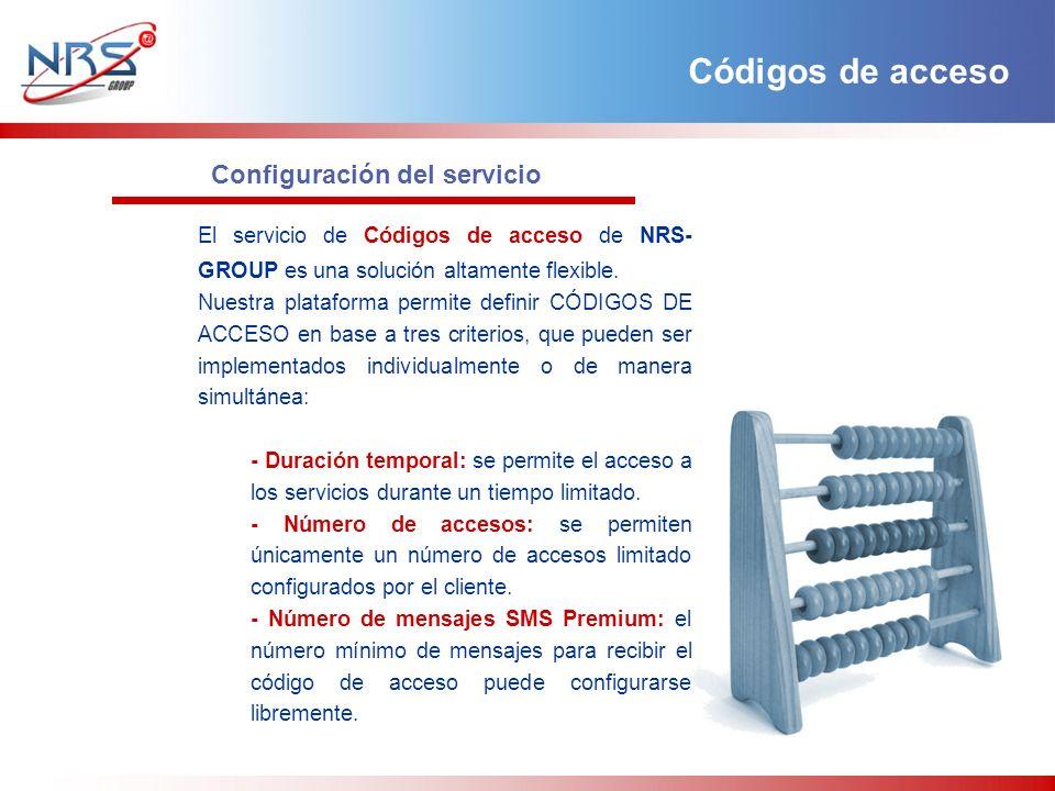 Configuración del servicio El servicio de Códigos de acceso de NRS- GROUP es una solución altamente flexible. Nuestra plataforma permite definir CÓDIG