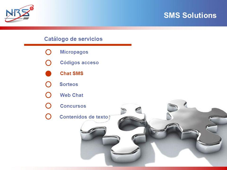 Catálogo de servicios SMS Solutions Micropagos Códigos acceso Chat SMS Sorteos Web Chat Concursos Contenidos de texto