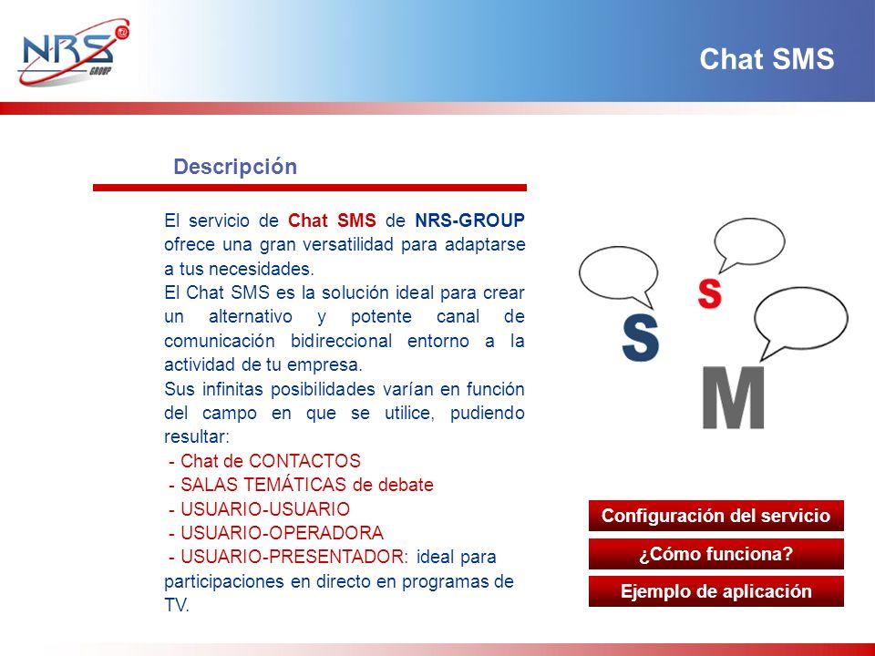 Descripción El servicio de Chat SMS de NRS-GROUP ofrece una gran versatilidad para adaptarse a tus necesidades.