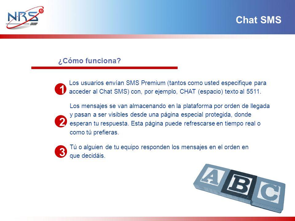 ¿Cómo funciona? 1 2 3 Los usuarios envían SMS Premium (tantos como usted especifique para acceder al Chat SMS) con, por ejemplo, CHAT (espacio) texto