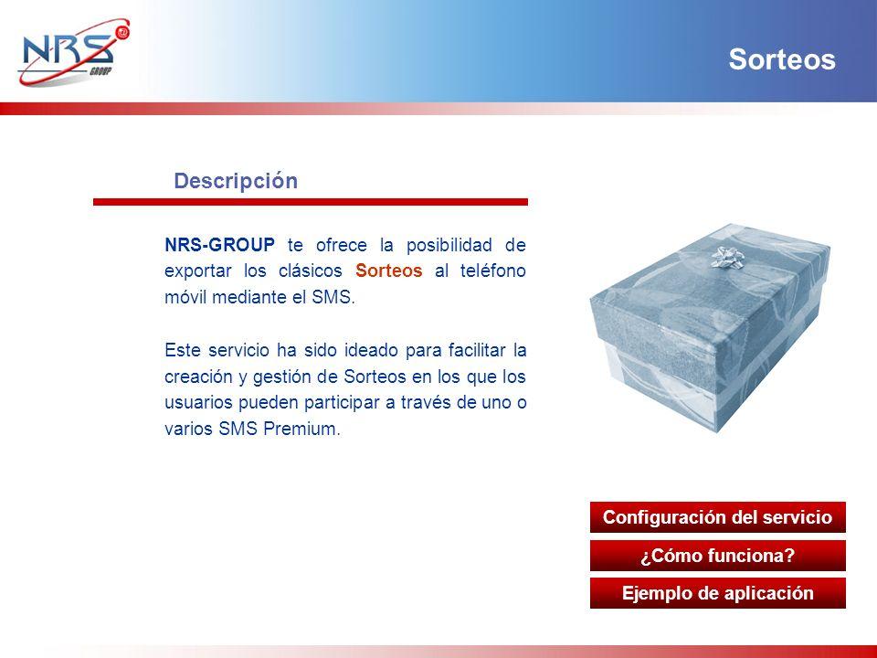 Descripción NRS-GROUP te ofrece la posibilidad de exportar los clásicos Sorteos al teléfono móvil mediante el SMS. Este servicio ha sido ideado para f