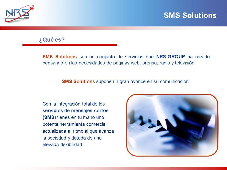 SMS Solutions son un conjunto de servicios que NRS-GROUP ha creado pensando en las necesidades de páginas web, prensa, radio y televisión.