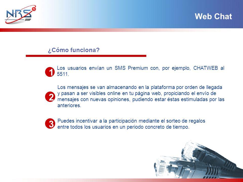 ¿Cómo funciona? 1 2 3 Los usuarios envían un SMS Premium con, por ejemplo, CHATWEB al 5511. Los mensajes se van almacenando en la plataforma por orden