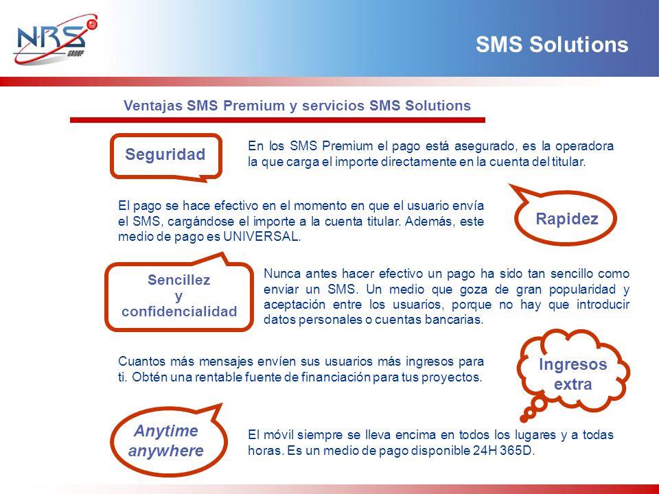 SMS Solutions En los SMS Premium el pago está asegurado, es la operadora la que carga el importe directamente en la cuenta del titular. Ventajas SMS P