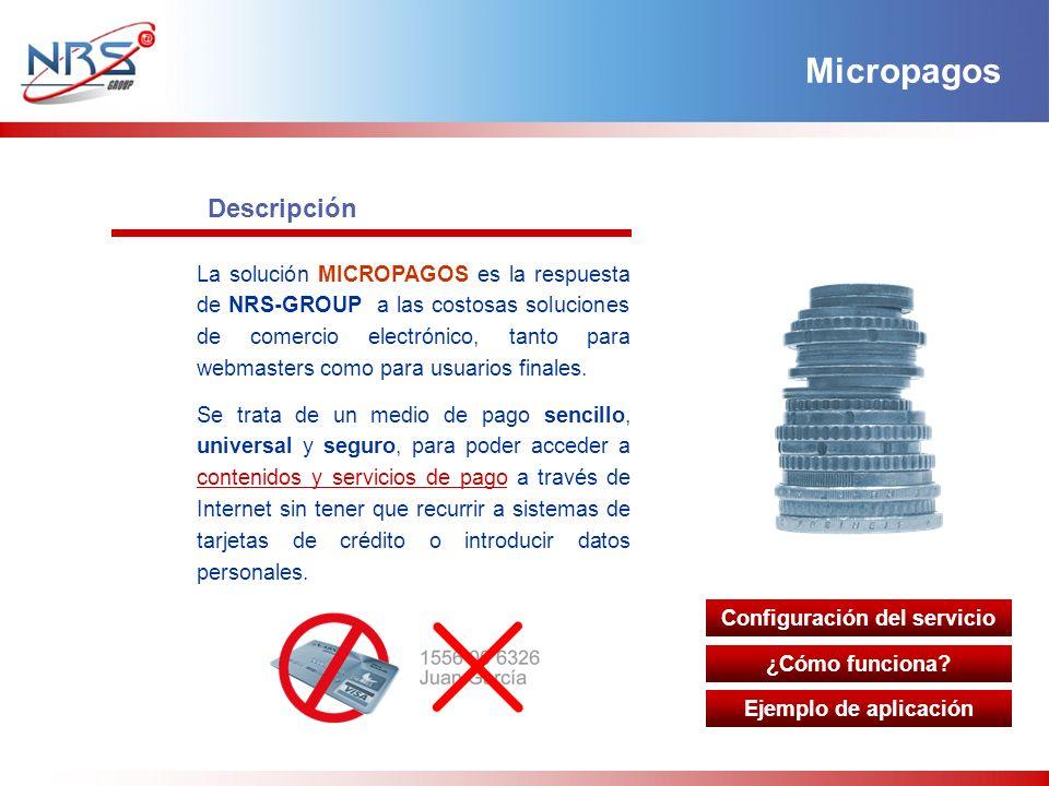 Descripción La solución MICROPAGOS es la respuesta de NRS-GROUP a las costosas soluciones de comercio electrónico, tanto para webmasters como para usu