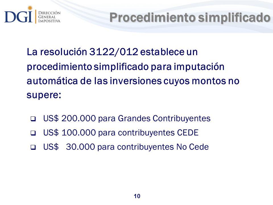 10 Procedimiento simplificado La resolución 3122/012 establece un procedimiento simplificado para imputación automática de las inversiones cuyos monto