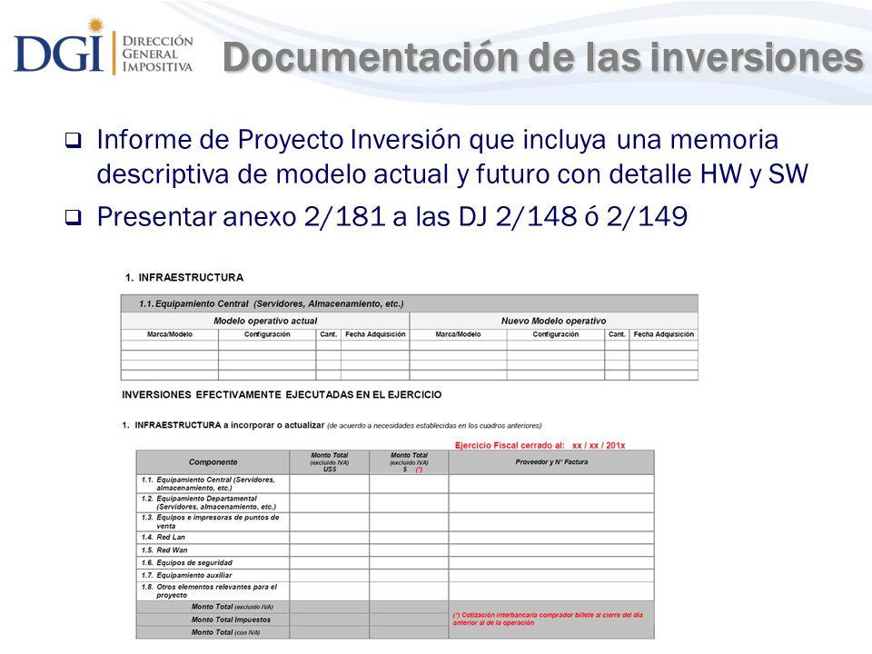 11 Documentación de las inversiones Documentación de las inversiones Informe de Proyecto Inversión que incluya una memoria descriptiva de modelo actua