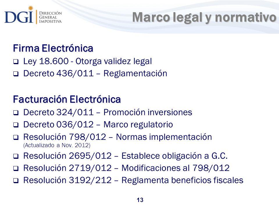 13 Marco legal y normativo Marco legal y normativo Firma Electrónica Ley 18.600 - Otorga validez legal Decreto 436/011 – Reglamentación Facturación El