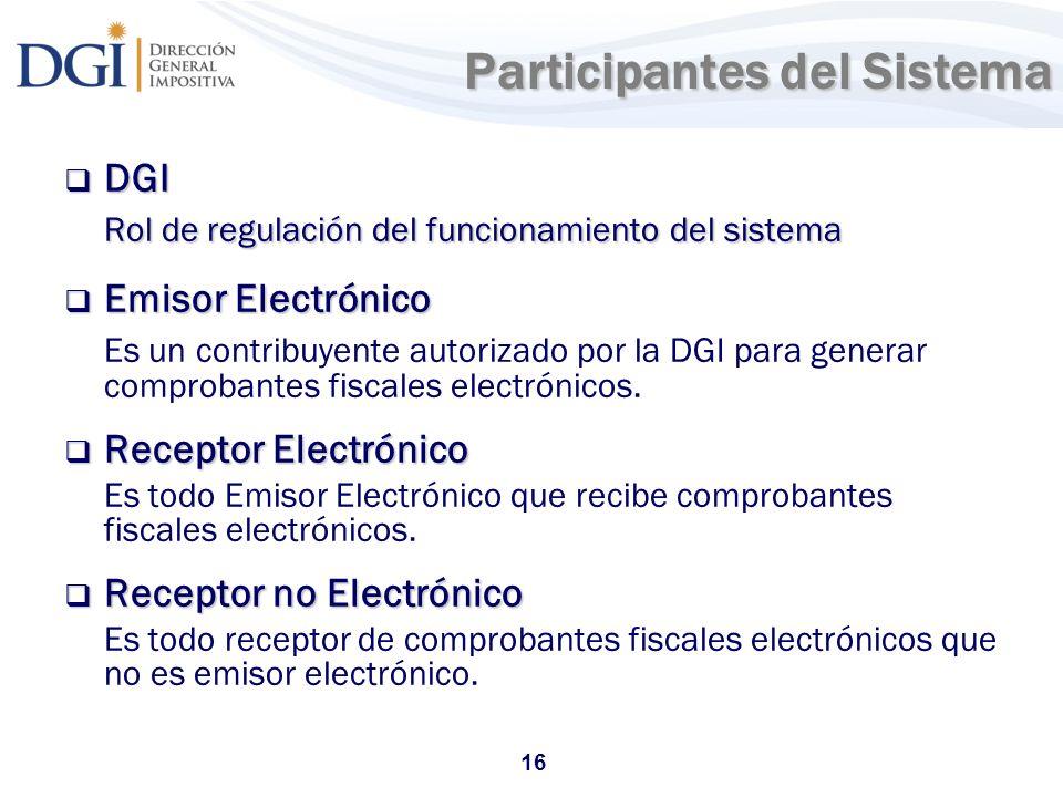 16 Participantes del Sistema Participantes del Sistema DGI DGI Rol de regulación del funcionamiento del sistema Emisor Electrónico Emisor Electrónico