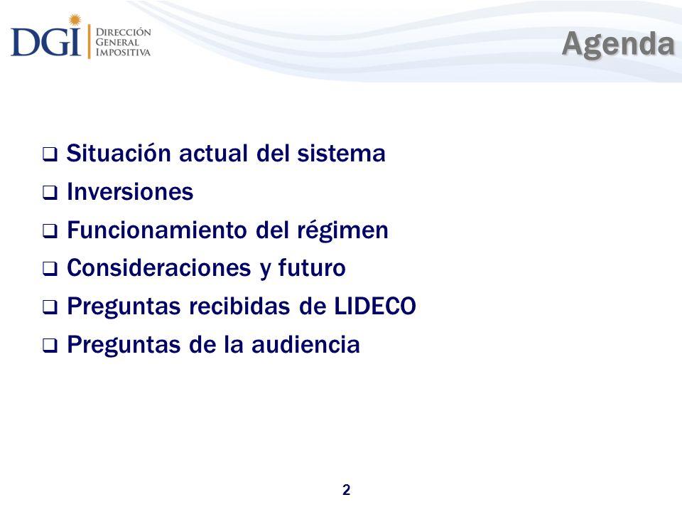 2Agenda Situación actual del sistema Inversiones Funcionamiento del régimen Consideraciones y futuro Preguntas recibidas de LIDECO Preguntas de la aud