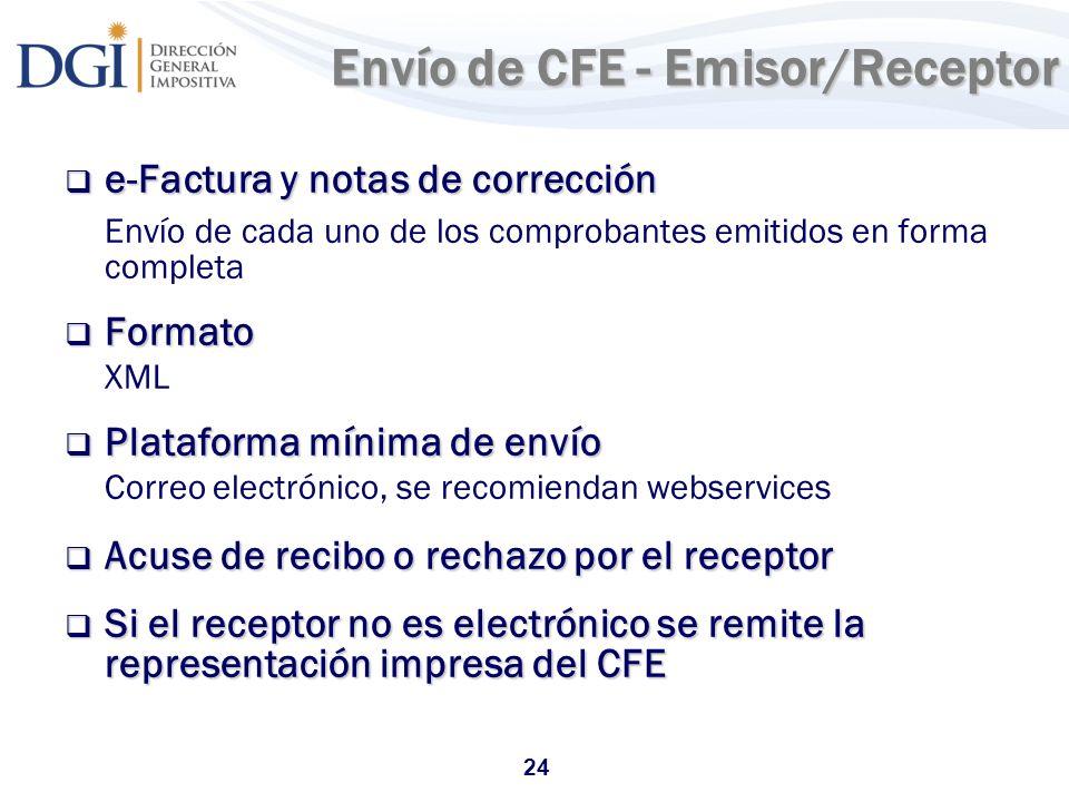24 Envío de CFE - Emisor/Receptor e-Factura y notas de corrección e-Factura y notas de corrección Envío de cada uno de los comprobantes emitidos en fo
