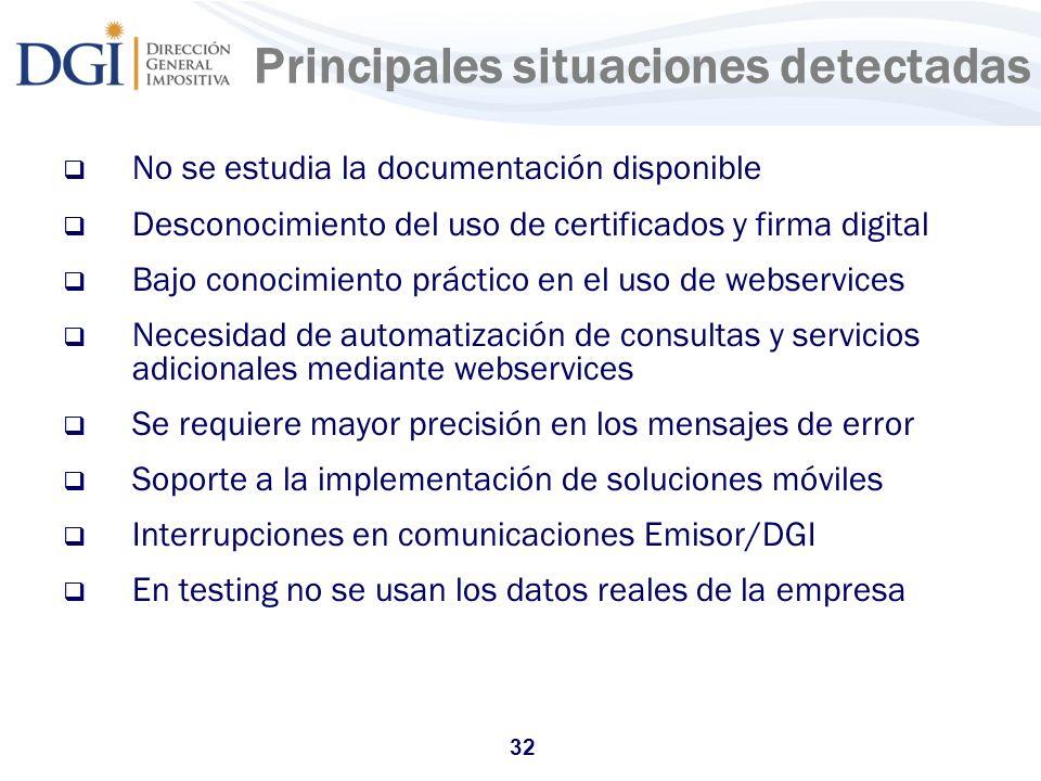 32 Principales situaciones detectadas No se estudia la documentación disponible Desconocimiento del uso de certificados y firma digital Bajo conocimie