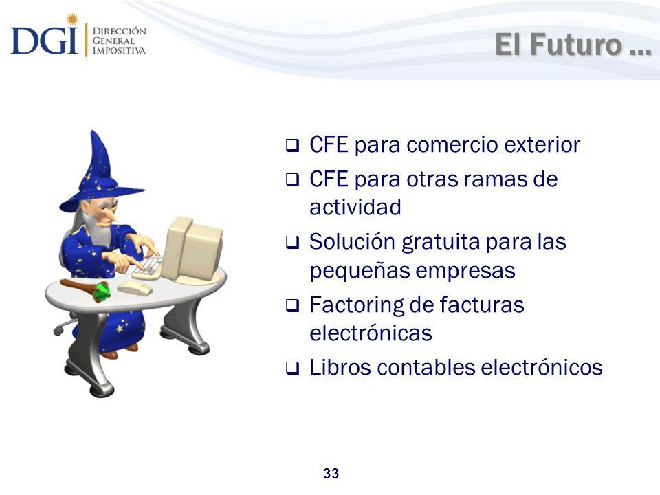 33 El Futuro … CFE para comercio exterior CFE para otras ramas de actividad Solución gratuita para las pequeñas empresas Factoring de facturas electró