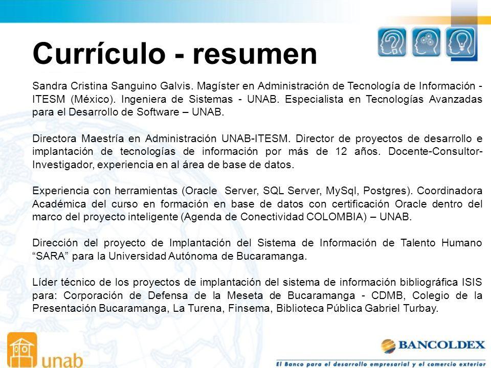 Currículo - resumen Sandra Cristina Sanguino Galvis.