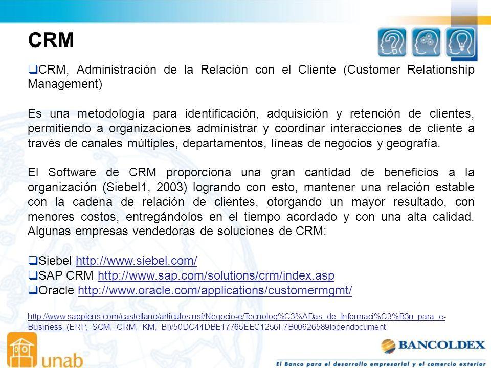 CRM CRM, Administración de la Relación con el Cliente (Customer Relationship Management) Es una metodología para identificación, adquisición y retención de clientes, permitiendo a organizaciones administrar y coordinar interacciones de cliente a través de canales múltiples, departamentos, líneas de negocios y geografía.