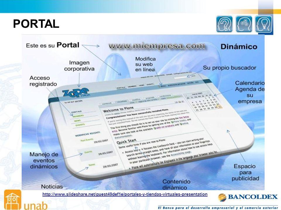 http://www.slideshare.net/guest49def1e/portales-y-tiendas-virtuales-presentation PORTAL