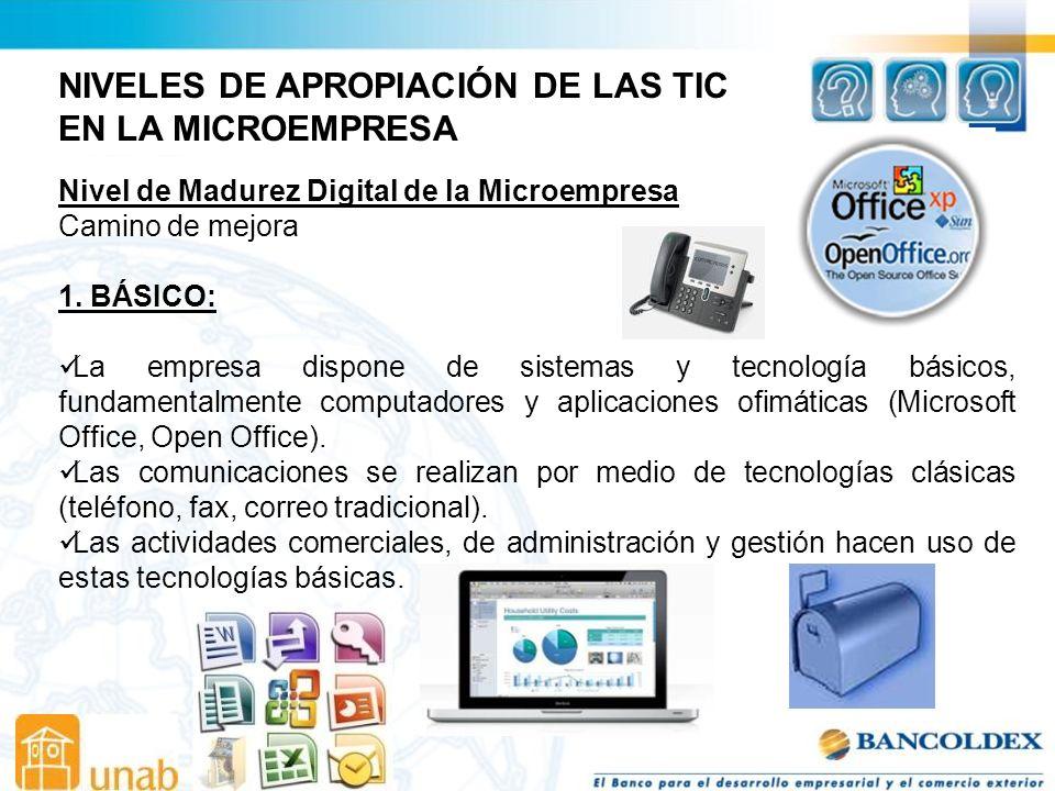 NIVELES DE APROPIACIÓN DE LAS TIC EN LA MICROEMPRESA Nivel de Madurez Digital de la Microempresa Camino de mejora 1.