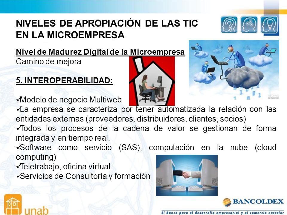 NIVELES DE APROPIACIÓN DE LAS TIC EN LA MICROEMPRESA Nivel de Madurez Digital de la Microempresa Camino de mejora 5.