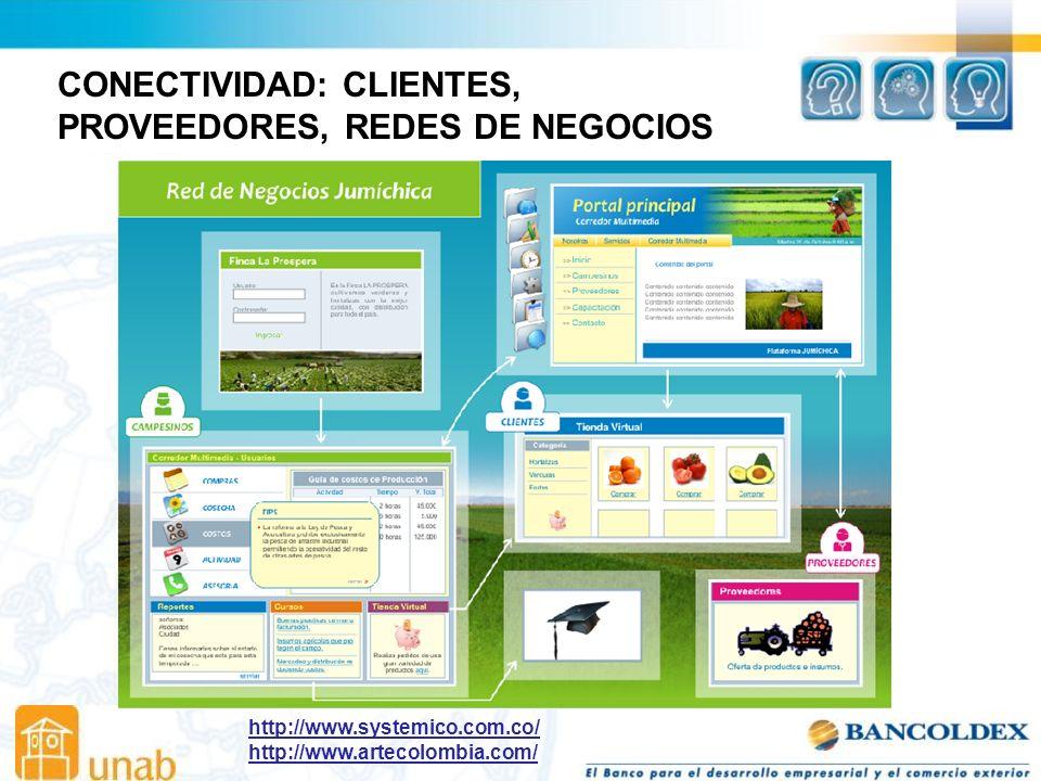 CONECTIVIDAD: CLIENTES, PROVEEDORES, REDES DE NEGOCIOS http://www.systemico.com.co/ http://www.artecolombia.com/