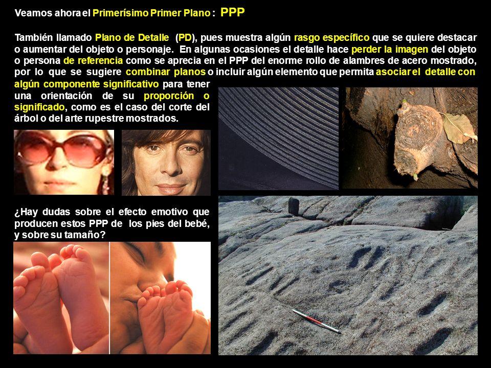 Veamos ahora el Primerísimo Primer Plano : PPP También llamado Plano de Detalle (PD), pues muestra algún rasgo específico que se quiere destacar o aumentar del objeto o personaje.